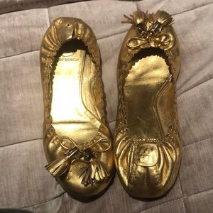 TORY BURCH Gold Ballet Shoes
